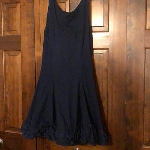 Betsey Johnson Navy Cotton Dress w/ Ruffle Detail
